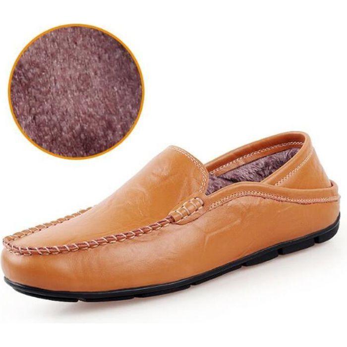 Chaussure Homme Hiver Nouvelle Mode Qualité Supérieure Chaudes Cuir Doublé De Fourrure Mocassins Conduite Confortable EYR06pET2o