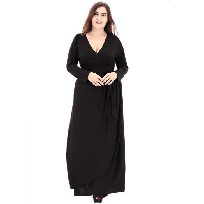 Robe Femmes col en V de couleur unie Maxi Robe longue 8785754