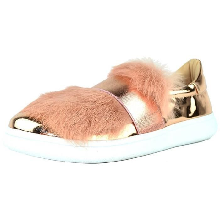 Faux Fur Metallic Banded Slip-on Fashion Sneaker QM87M Taille-40