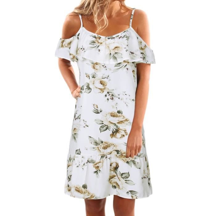 Womens Off Shoulder Floral Summer Casual Loose Strap T Shirt Dress 2YK1SO Taille-36