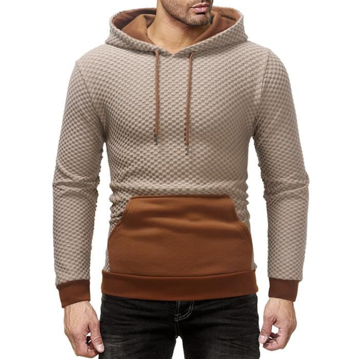 8ee23d438306a Sweatshirt Homme à capuche Homme Pullover de Marque Slim Fit Sport Sweat  Hommes style à carreaux