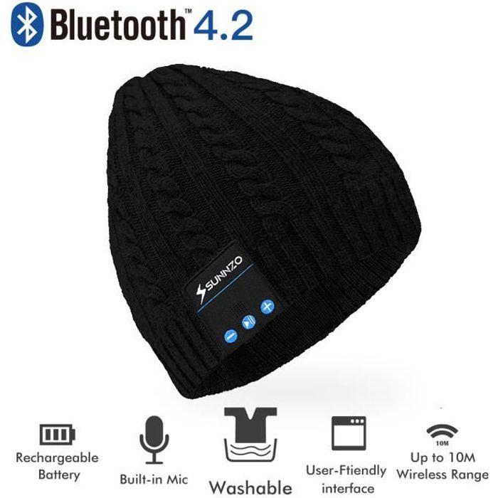 OREILLETTE BLUETOOTH Bonnet Bluetooth avec Casque Stéréo intégré, Micro