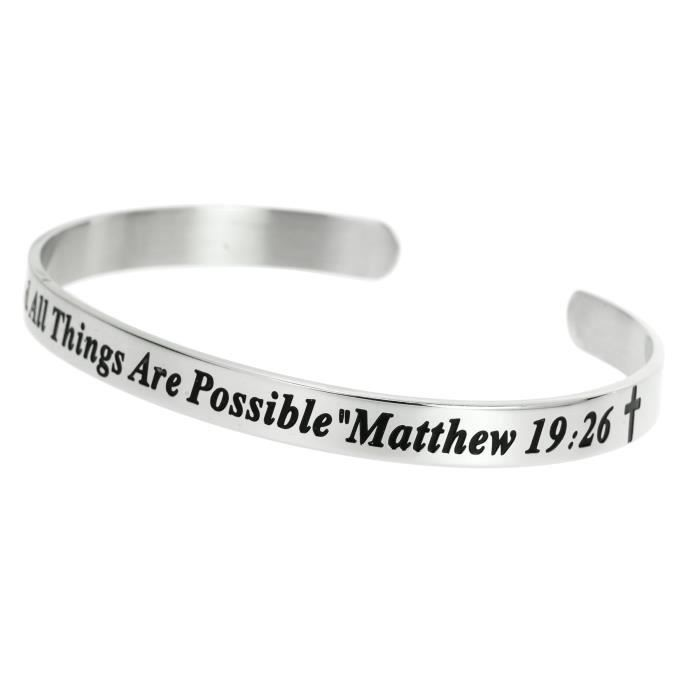 Womens Christian Bible With God All Things Are Possible Adjustable Cuff Bracelet Wristband Bangle BV422