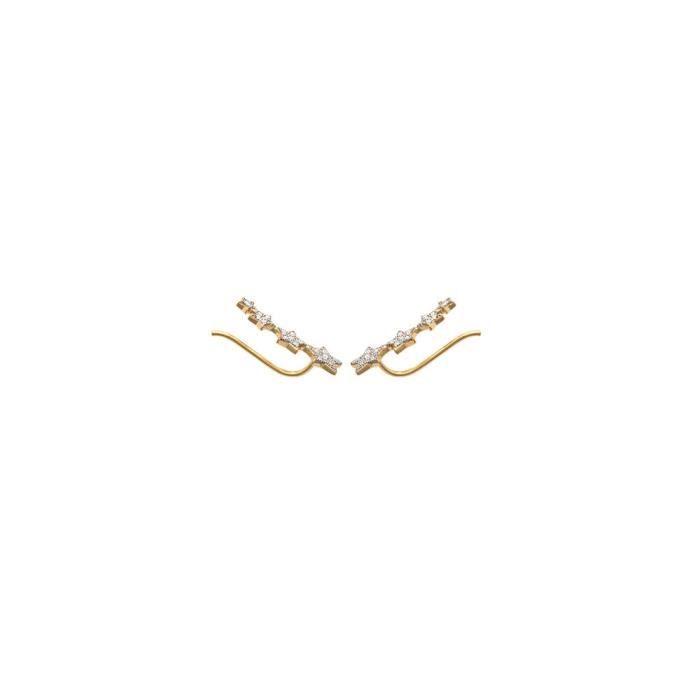 MARY JANE - Boucles doreilles plaqué Or - Long:20mm - Larg:7mm - Femme - Etoile - Pendantes