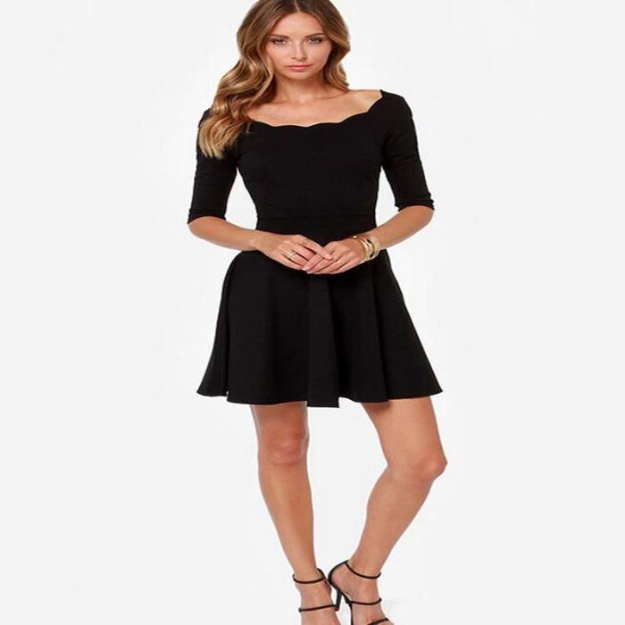 Robe femmes solide noir longues Sexy élégant de rayure