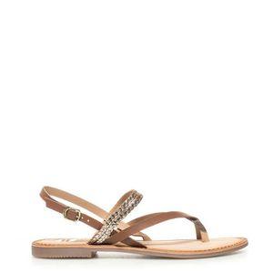 SANDALE - NU-PIEDS Nadia sandales en cuir brun, or