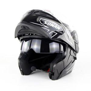 CASQUE MOTO SCOOTER Casque Moto Unisexe de Marque luxe Double lentille