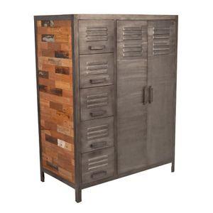 ARMOIRE DE CHAMBRE Armoirette 2 portes 5 tiroirs - FABRIK - L 110 x l
