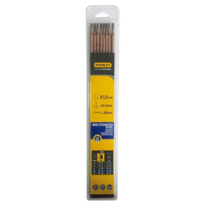 STANLEY 460733 Lot de 8 électrodes inox - Ø 3,25 mm - L 350 mm - Baguettes de soudure