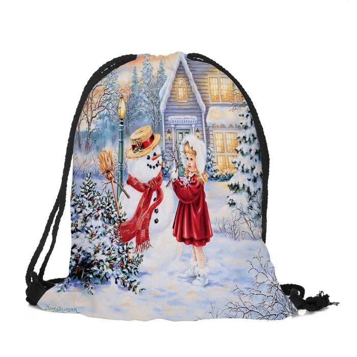 sa1844 De Stockage Sac Bag Ensemble Rucksack Noël Poche Candy À Satchel Cordonnet Joyeux SnqFa17