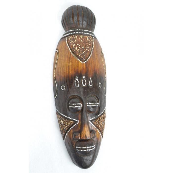 OBJET DÉCORATIF Masque Africain en bois 30cm décoration ethnique a