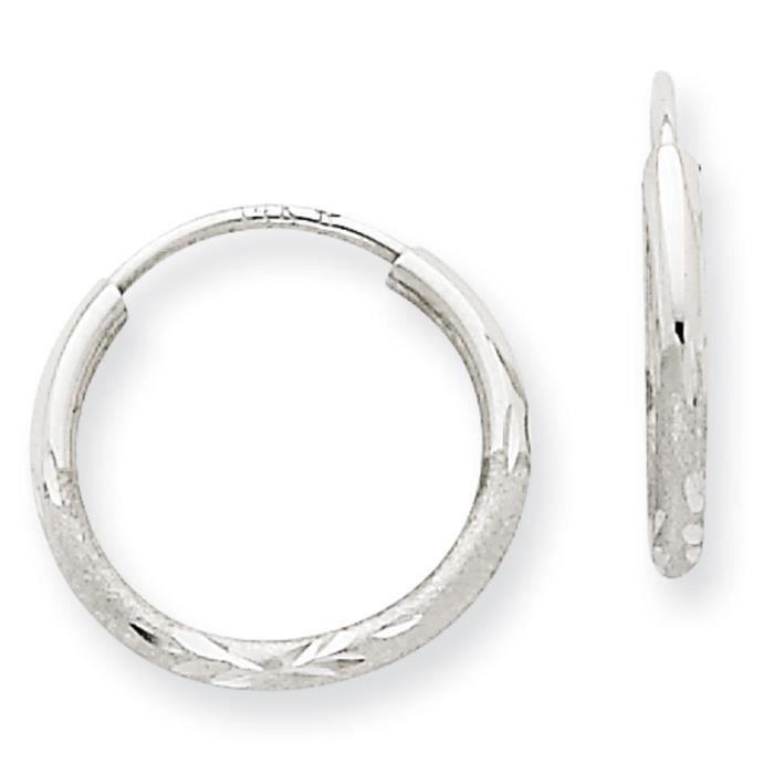 Or blanc 14 carats Diamant 1,5 mm-Coupe-Boucles doreilles anneaux