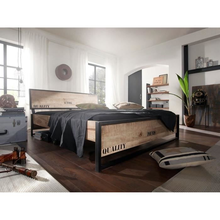 lit en fer et bois achat vente pas cher. Black Bedroom Furniture Sets. Home Design Ideas