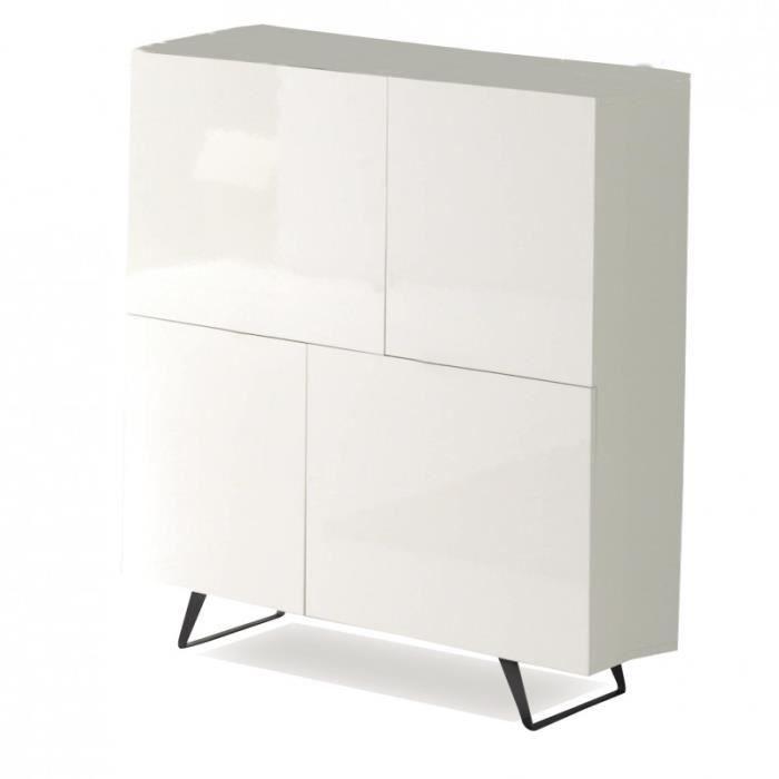 Buffet haut 4 portes en bois laqué blanc AMBROISE - L 120 x l 40 x H ...
