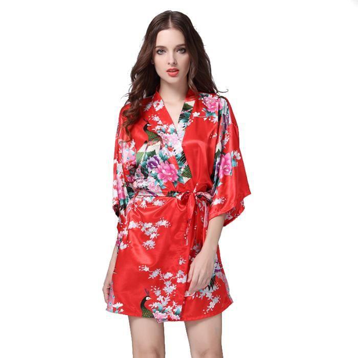 438147d84dc2a Robe de Nuit Robe de Chambre Peignoir Chemise de Nuit Satin Femme Kimono
