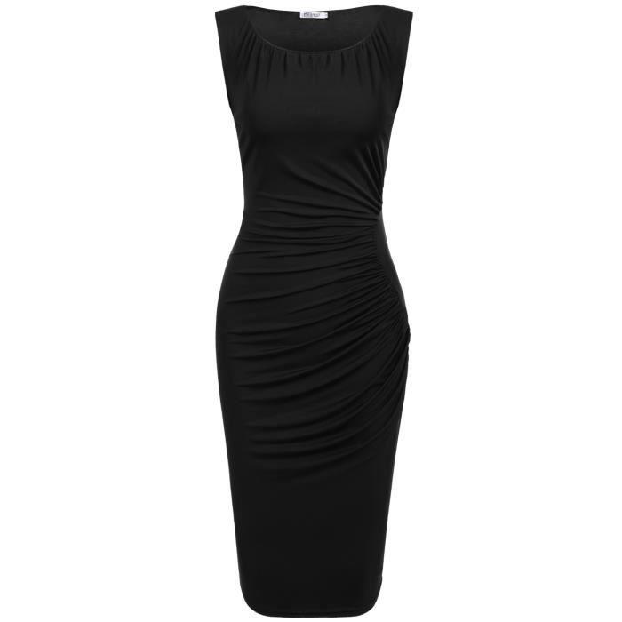 robe de hanche avec doublure Femmes Casual O-Neck sans manches plissé élastique en paquet