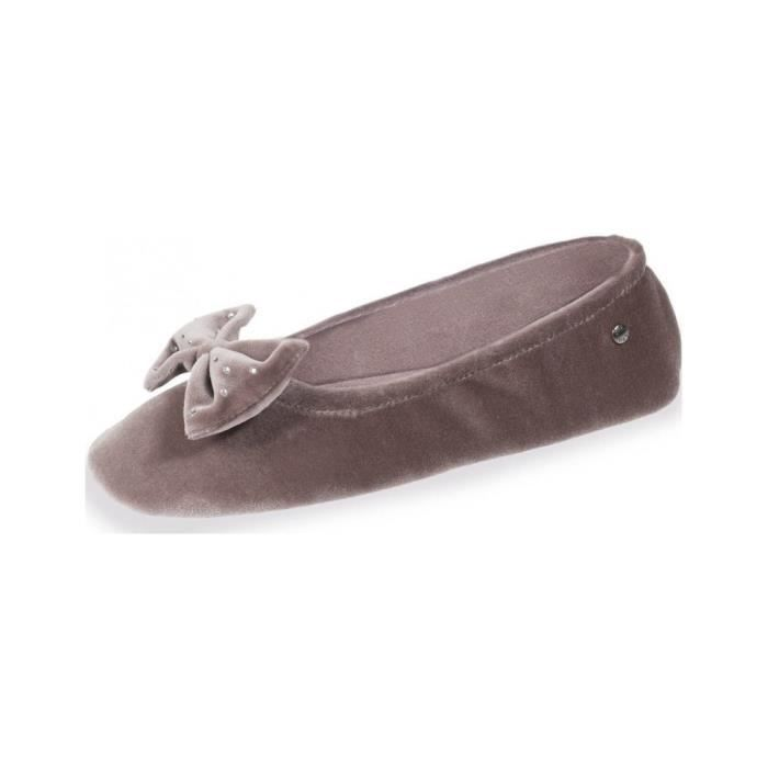 ddc182f5413a8 95991-ABI BEIGE - Chaussons ballerines femme velours grand nœud marque  Isotoner