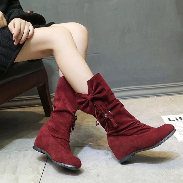 Bottes femmes bowknot gland bottes d'hiver chaudes bottes de veau hiver chaussures