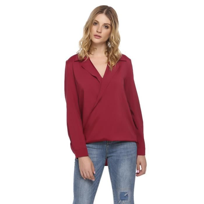 Femmes chemisier casual col v à manches longues Rouge Rouge - Achat ... f0504973211f