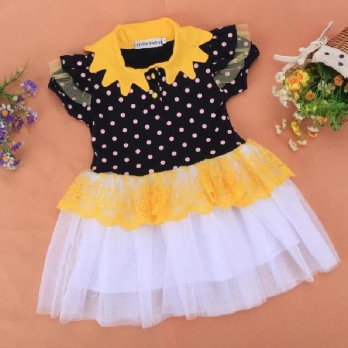 Usure O-cou manches courtes points Patchwork robe de nouveaux enfants Kids fille