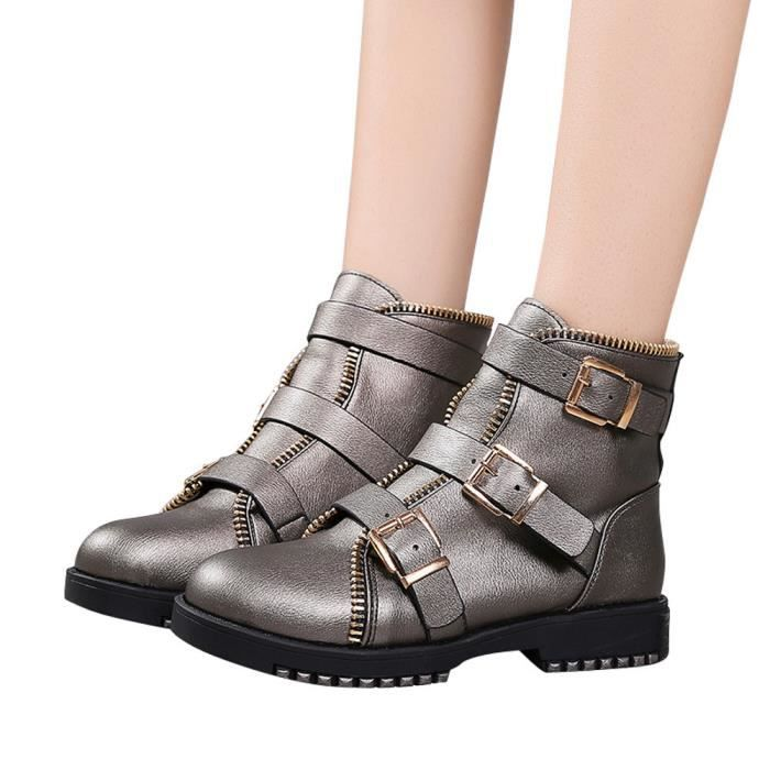 Bottes Bout Bracelet Casual Vintage Boucle Rond Ljd80726892gy40 Cuir Gris Pachasky Plat Chaussures femmes Martin g0wEYE