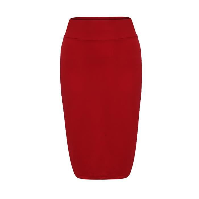 Crayon Élastique Moulante Mode Mesdames Jupe Rouge Femmes Haute Stretchy Ordinaire Solide jA4L5R