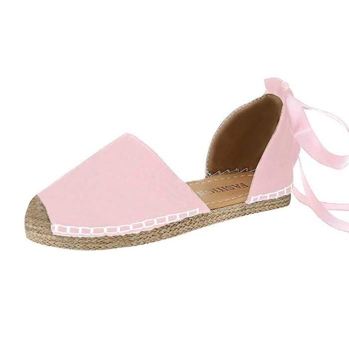 Sandales Romaines Été Plat Chaussures Femme Lacet Nu Printemps Mode ukZwPXTOil