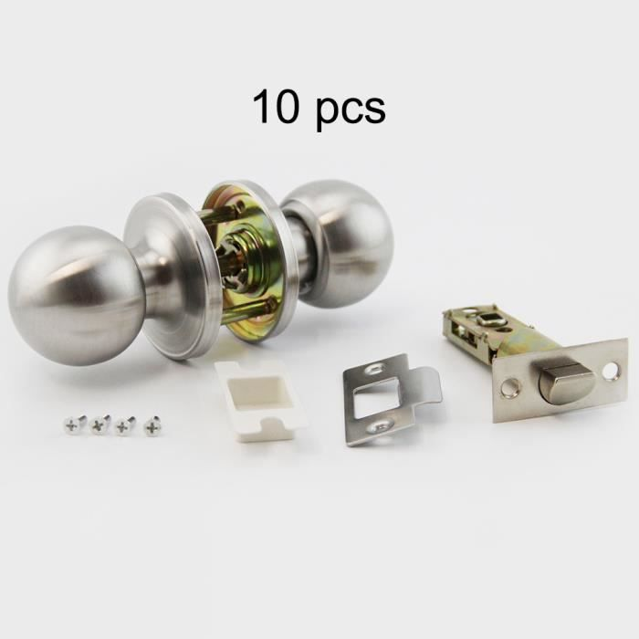 POIGNÉE DE PORTE Kit-10PCS Poignee rond en acier inoxydable Boule V