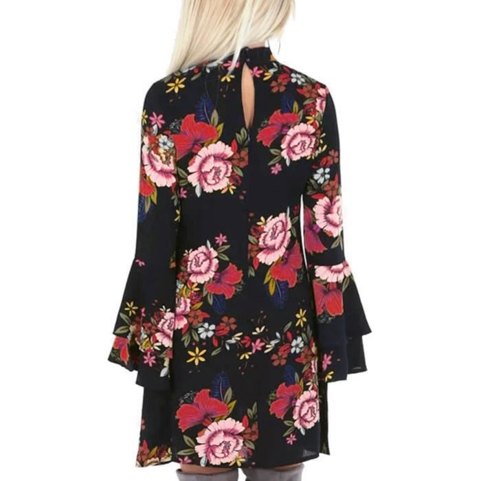 Perkins Imprimer Floral aléatoire été Collar femmes évasé manches Mini robe de longueur 2JON1N Taille-30