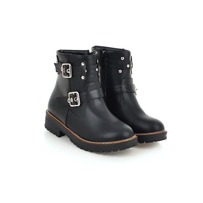 Boucle Court Chaussures Plates En Loisirs Couleur Femmes Tube Solide Martin Bottes Cuir q5fxTw1