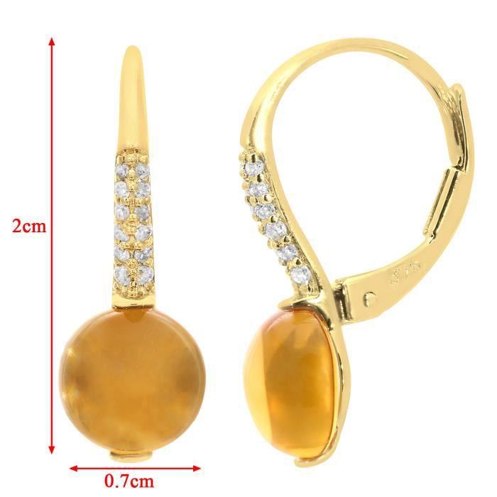 Revoni - Boucles d'oreilles pendantes en or jaune 9 carats, citrines 3 carats et diamants - REVCDDE1509YCT