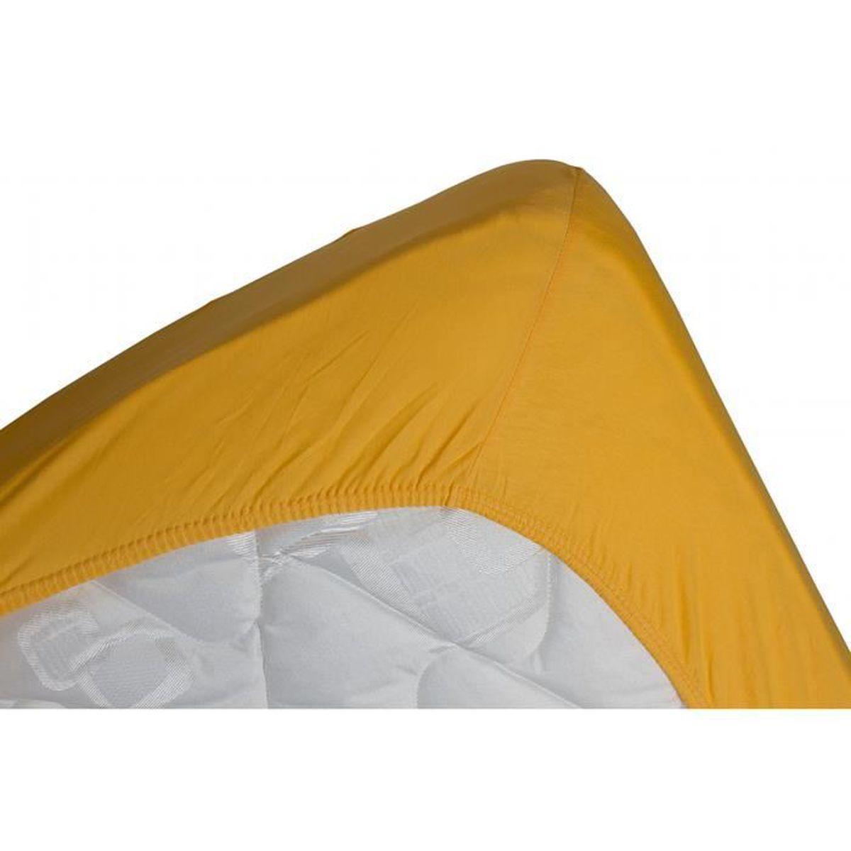 drap housse jaune Drap housse jersey extensible DOUCEUR jaune or   70x190   Achat  drap housse jaune