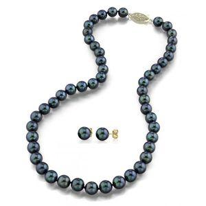 Boucle d'oreille Collier perles de culture Akoya Noir 6,5–7mm Or 1
