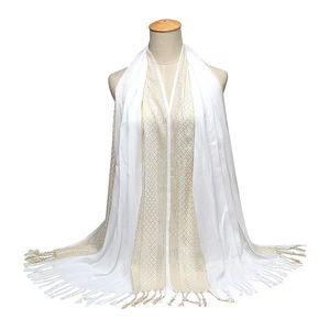 Echarpe Chale blanche d ete branchee de la couleur pure pour les ... 7b4f825c44e