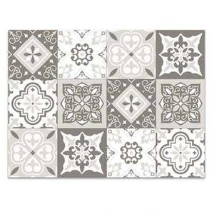 TAPIS Tapis de cuisine vinyle 'Boho' gris (carreaux de M