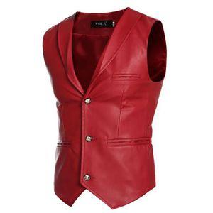 GILET DE COSTUME Gilet de Costume Hommes En Cuir Artificielle Veste e867fa6734e