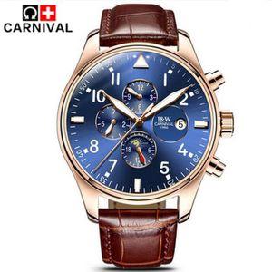MONTRE Carnival Luxury 6 Hands Automatic Watch mécanique