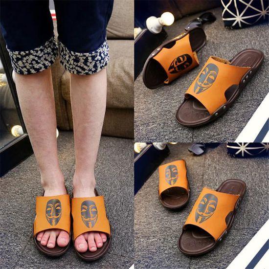 Pantoufle Homme Chaussures Grande De Taille Cool Plus De Grande Couleur Classique Fond plat Jaune Jaune - Achat / Vente slip-on 0411be