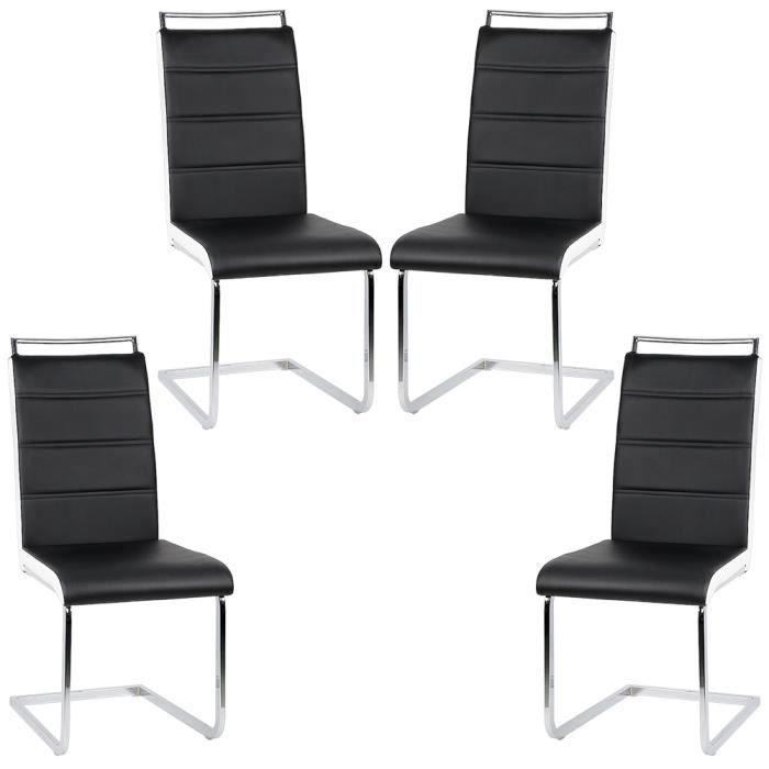 Chaise Noir Salle A Manger.Lot De 4 Chaises De Salle A Manger Ou Cuisine Simili Noir Lisere Blanc Dossier Confortable