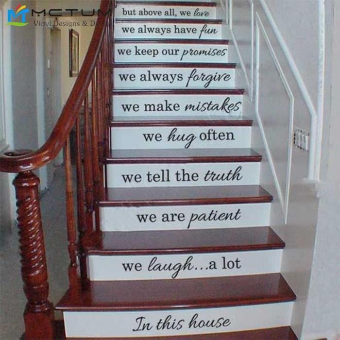 Vinyle Stickers Stair  Dans Cette Maison  Nous Faisons Citation