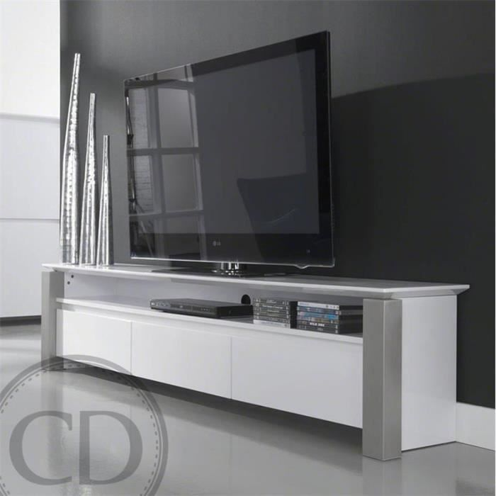 meuble tv laqu brillant blanc design achat vente. Black Bedroom Furniture Sets. Home Design Ideas