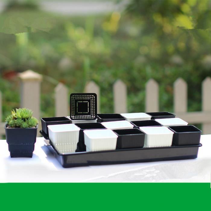 15 Pièces Mini Fleur Pot Carré Plaque Art Maison Jardin Accessoire  Décoration Créatif Blanc U0026 Noir