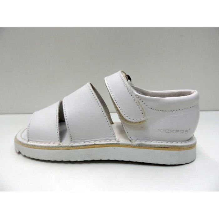Chaussure Sandale kickers FemmeVelcro Travel Cuir Blanc Pointure 37