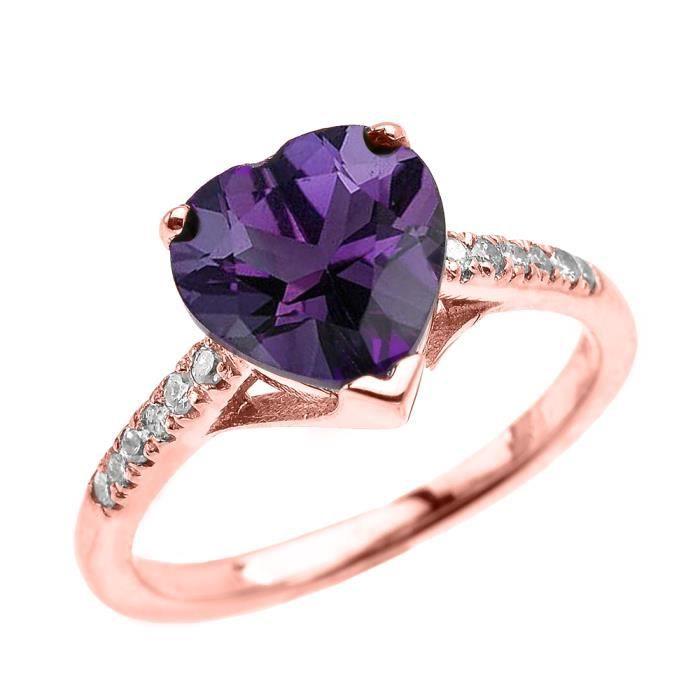 Bague Femme 10 Ct Or Rose Solitaire Cœur Améthyste Et Diamant