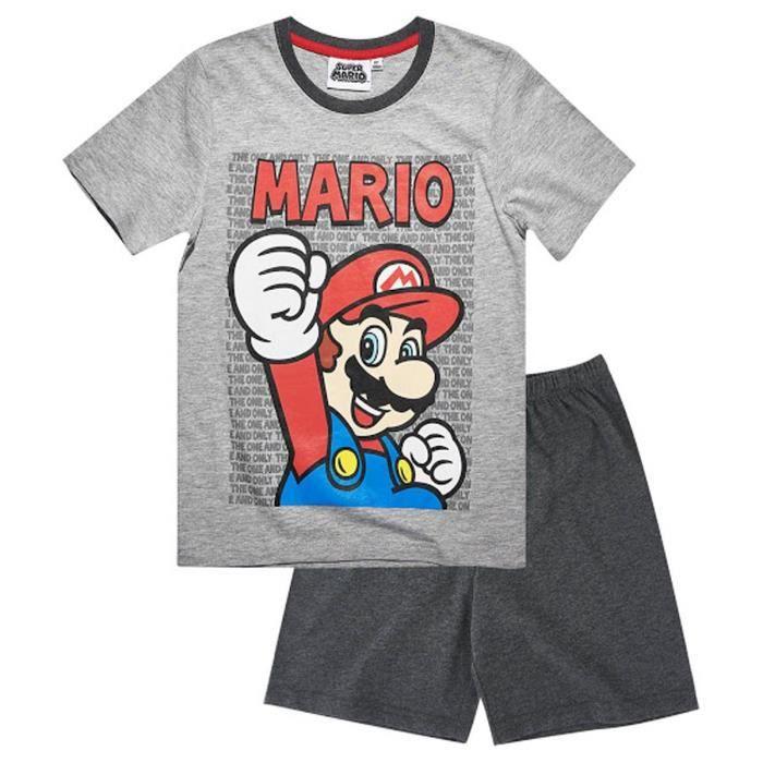 a254b570cfe0e Pyjama court enfant garçon Mario Bros Gris de 4 à 12ans Gris Gris ...