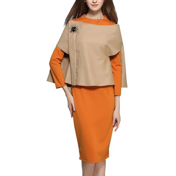 Robe femme automne manches longues col rond avec manteau mode slim fit Orange SIMPLE FLAVOR