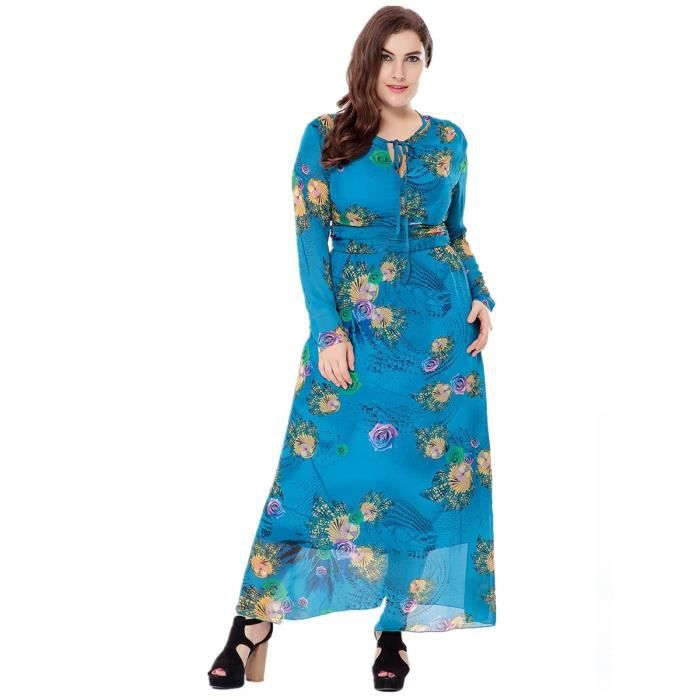o robe des femmes cou à manches longues taille haute taille, plus floral maxi robe longue