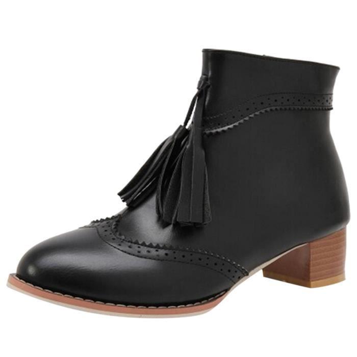Retro Bottes Femmes Anti Moyen Chaussures Place Frandmuke12228 slip Hauts Talon Zipper Tassel zqxazw5d