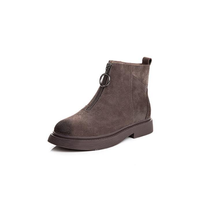 7c4784baec4 Mode Bottine Cuir Boots femme nouvelle Bottes - Gris Gris Gris ...