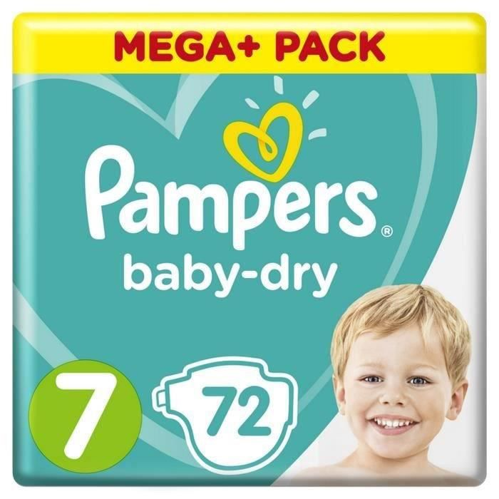 COUCHE Pampers Baby-Dry Taille 7, 15+ kg, 72 Couches - Me